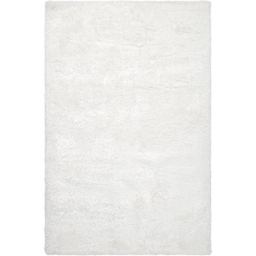 Surya Grizzly GRIZZLY-9 Shag Hand Woven 100% Wool White 8' x 10' Area Rug Hand Woven Wool Shag Rug