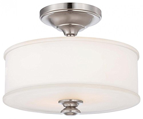 Minka Lavery Semi Flush Mount Ceiling Light 4172-84, Harbour Point Round Glass Lighting Fixture, 2 Light, Nickel