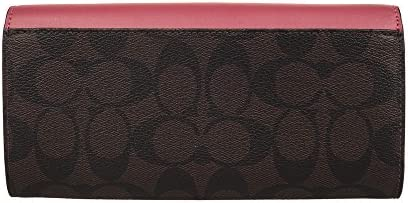e24e3b9a3835 Coach Women's PVC wallet F54022 White khaki (Dark brown with red)