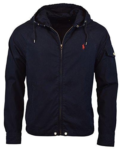 Polo Ralph Lauren Mens Nylon/Cotton Blend Waimea Hooded Windbreaker - Aviator Navy, Medium (Polo Ralph Online)