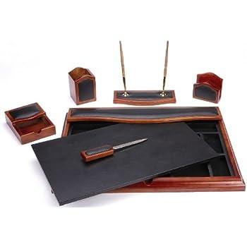Great Majestic Goods Desk Set, Six Piece, Brown Oak Wood And PU (W232)