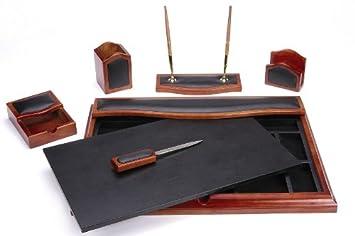 Majestic Goods Desk Set, Six Piece, Brown Oak Wood And PU (W232)