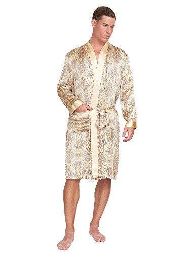 - MYK SILK - Men's Robe Printed Bath Sleepwear Classic Silk (XX Large, Gold)