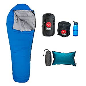 32F Lightweight Backpacking Sleeping Bag - Air Pillow Combo, 3 Season Down Fill Mummy Bag - Compression Sack Included, Zip Two Together, YKK zipper, Ultralight, Ultra Compactable for Camping