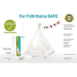 Kids Teepee Tent Children Play Tent 5 ft Raw White Cotton Canvas Four Wooden Poles Water Resistant Mat Banner Carry Case…