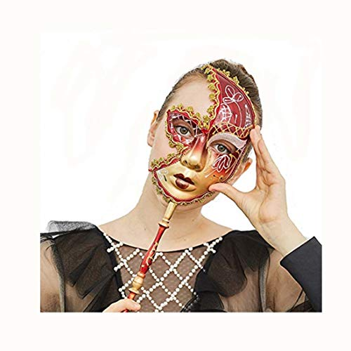 YUFENG Lace Mask Masquerade Costume Sexy Party Prom Ball Halloween Womens mask (Gold and red)