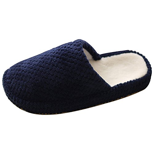 In Blu Men's Scarpe Da Casa Indoor Eastlion Pile Caldo Women Scuro Mantenere And Pantofola skid Anti Pantofole Winter aqEvfx