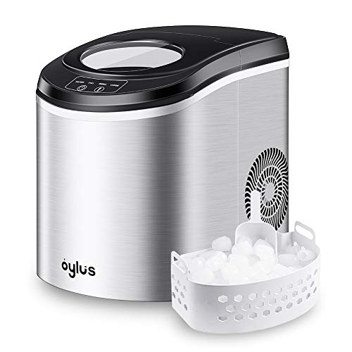 Oylus Stainless Steel Ice Maker Countertop Ice Machine for Home Kitchen Electric Ice Cube Maker - Makes 9 Ice Cubes in 7 Minutes - 26lbs Daily ()