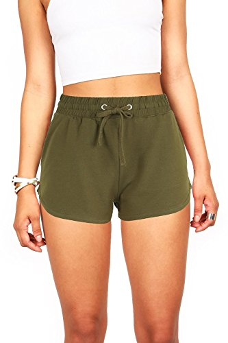 Ambiance Womens Juniors Perfect Jogger Gym Shorts (S, Olive)