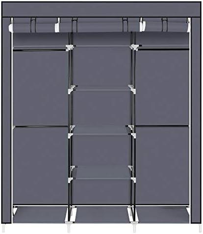 不織布と洋服クローゼット、ポータブル多機能ストレージは玄関ベッドルームオフィスバルコニー用の棚ワードローブラック