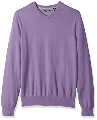 IZOD Men's Fine Gauge Solid V-Neck Sweater, Shear Lilac, Small (Purple Sweater Wool)