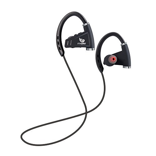 STARNUO Bluetooth Headsets Runner Headset Sport Headphones with Mic and Lifetime Sweatproof Protection - Wireless Earbuds for Running (Black1)