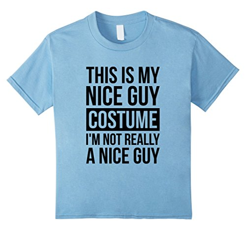 Simple Guy Costumes For Halloween (Kids Simple Funny Nice Guy Halloween Costume Shirt for Boys & Men 6 Baby Blue)