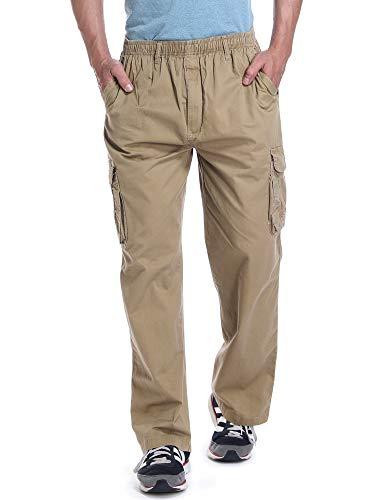 (OCHENTA Men's Loose Fit Full Elastic Zipper Fly Multi Pockets Cargo Pants Soil Yellow Tag 4XL - US 38)