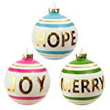 "RAZ Imports - 4"" Message Ball Christmas Ornaments - Set of 3"