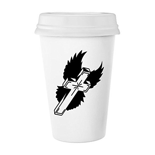Religion Christianity Belief Church Black Holy Cross Flying Wings Culture Design Art Illustration Pattern Classic Mug White Pottery Ceramic Cup Milk Coffee Cup 350 ml by DIYthinker