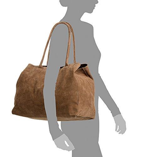 Color TAUPE genuino Shopper VERA ARTEGIANI ITALIANA cm Bolso Made Bolso hombro Bolso Tacto ITALY cuero FIRENZE 40x30x20 Gamuza PELLE suave in piel mujer auténtica TAUPE Bolso mujer AxSqnF0