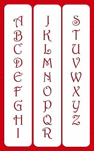 Designer Stencils C106 1.25inch Contemporary Monogram Letters Cake Stencil, Beige/semi-transparent