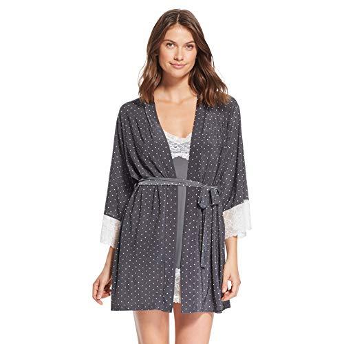 (Nanette Lepore Womens 2 Piece Lace Trim Polka Dot Nightgown Robe Set Graphite Medium)