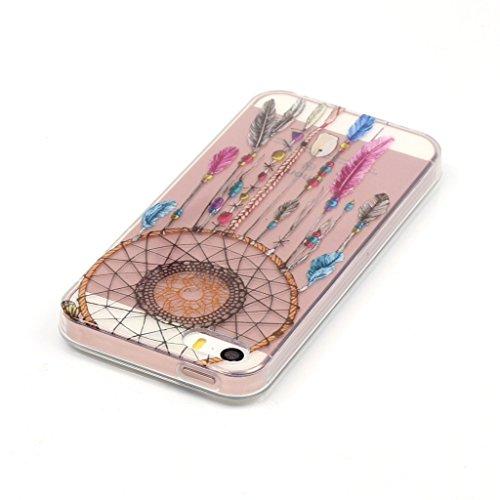 """ZXLZKQ Transparent Dreamcatcher De Plumes Papillon Doux TPU 3D Silicone Case Coque Housse Etui pour Apple iPhone 6 6s 4.7"""" (non applicable iPhone 6 Plus)"""