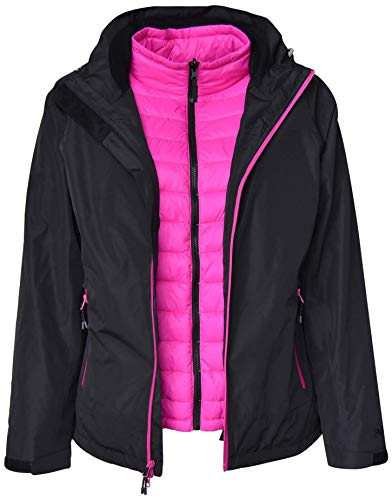 Pulse Womens Plus Size 3in1 Swiss Systems Snow Ski Jacket (3X, Black Pink)