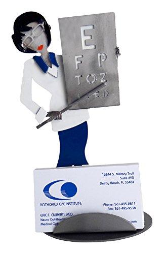 H   K Sculptures 6843Bc Female Doctor Eye Business Card Holder