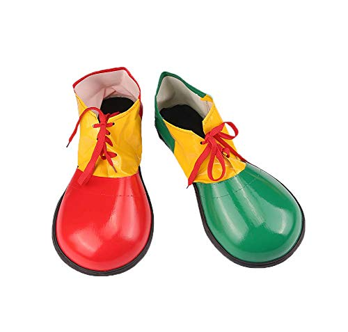 Artificial Leather Clown Shoes Pretend Games Shoes for Adults Party Clown Costume Supplies, Green and Red ()