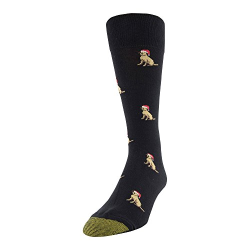 Gold Toe Men's Printed Novelty Graphic Fashion Dress Crew Socks, 1 Pair, dogs With santa heat, Shoe Size: 6-12.5 -