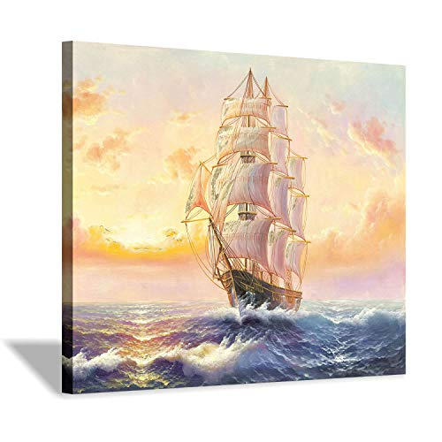 Hardy Gallery Nautical Ocean Picture Sailboat Artwork Sailing in Sea Art Painting on Canvas for Living Rooms Office 24 X18