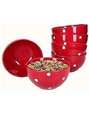 Van Well Emily 6-delige set mueslischaal rood-wit gestippeld, Ø 145 mm, slakom, aardewerk kom