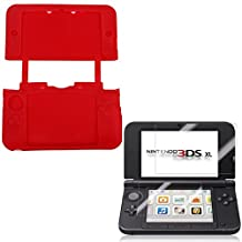 HDE Soft Silicone Rubber Gel Skin Case Cover for Nintendo 3DS XL/LL + Screen Protector (Red)