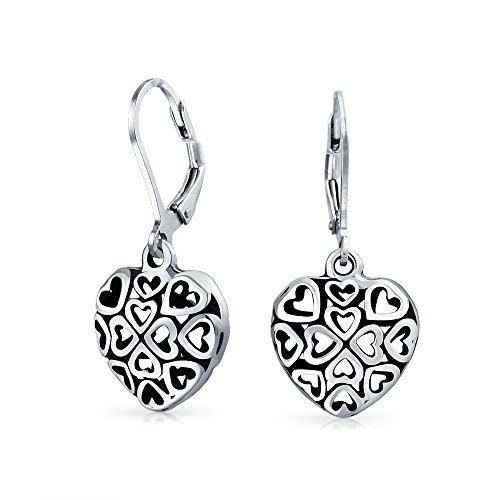 Open Filigree Heart - Open Heart Shape Multi Filigree Hearts Leverback Dangle Earrings For Women Oxidized 925 Sterling Silver