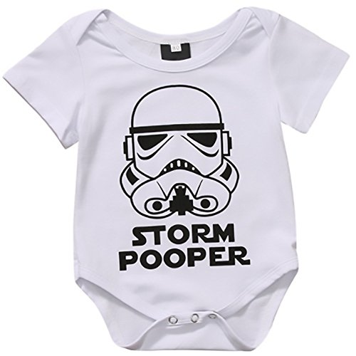 Flash Discounts Cute! Watch Out Jedi, Here Comes The Storm Pooper! Baby Romper with Dark Side On The Bum. (Watch One Piece Get)