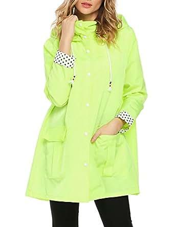 Womens Long Sleeve Lightweight Hooded Drawstring Trench Raincoat Outdoor Waterproof Jacket