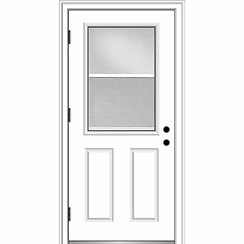 National Door Company ZZ364691R Fiberglass, Primed, Right Hand Outswing, Prehung Door, 1/2 Lite 2-Panel, Clear Glass with Venting Screen, 36
