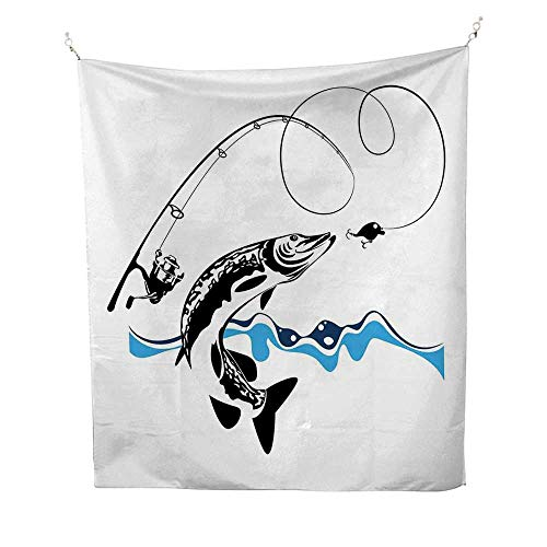 Anshesix Fishing Decor Tapestry Throwing Blanket Big Pike Fish Catching Wobblers Reel Trap in River Raptorial Predator Print Bedroom Tapestry 60W x 91L INCHQueen Full