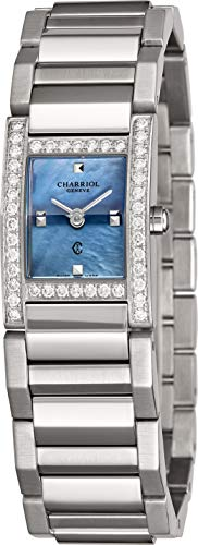 (Charriol Megeve Womens Rectangular Stainless Steel Diamond Watch - Blue Mother of Pearl Face with Sapphire Crystal - Swiss Made Classic Ladies Rectangle Dress Watch MGVSD1.400.862)