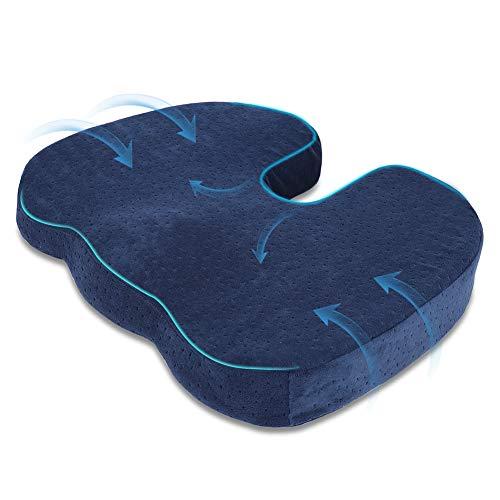 Halovie Suave Coxis Ortopedica Cojin Almohada Espuma de Memoria para Silla Cojin asiento Alivia el Dolor y Corrige la Postura 45 * 35 * 7Cm Azul