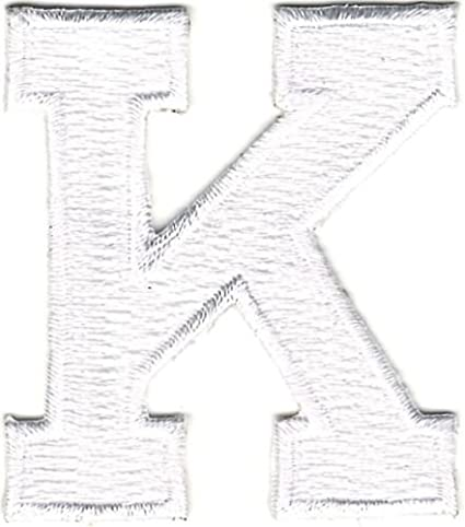 1 78 white monogram block letter k embroidery patch