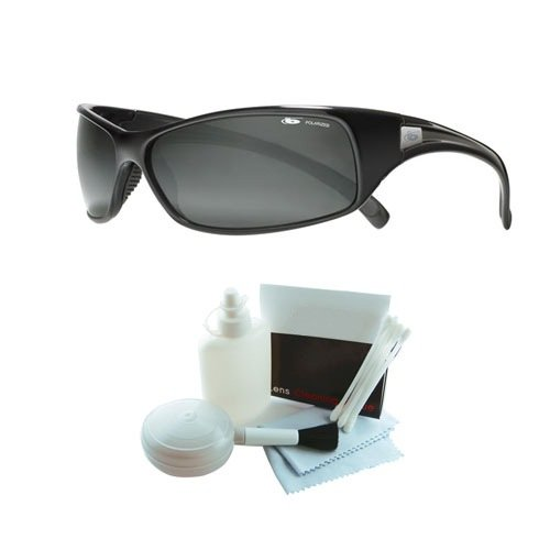 Bolle 10405 Recoil Polarized Shiny Black Sunglasses w/ Deluxe Cleaning (Bolle Wrap Around Sunglasses)