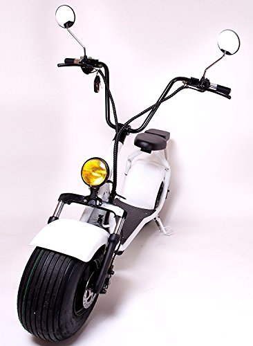 eDrift UH-ES295 2.0 32MPH Electric Fat Tire Scooter Moped with Shocks 2000w Hub Motor Harley E-Bike (White, - Cheap Scooter Moped