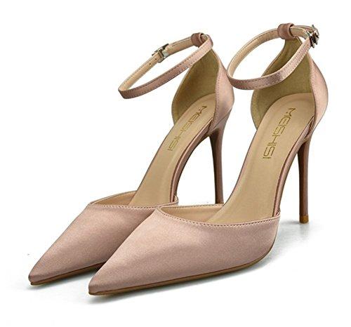 Satín Tacón Tobillo Boda Alto Zapatos Mujer Corte Vestir Zapatillas Estilete Apricot Zpl Punta Correa Fiesta Puntiaguda qIxPn4qvXw