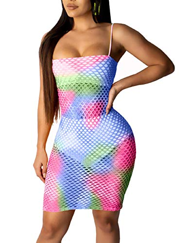 FairBeauty Women Summer Swimwear Cover Ups Spaghetti Straps Sexy Bodycon Hollow Out Fishnet Mesh Beach Wrap Top Panties Suits Rose Purple