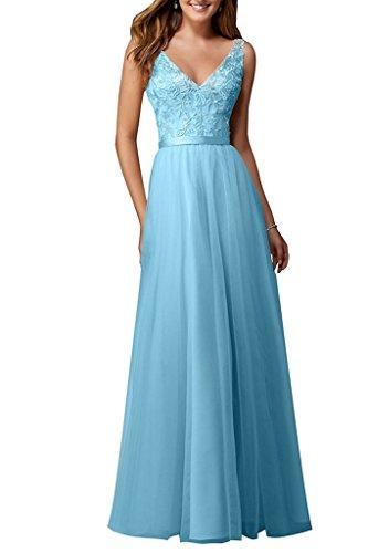 Partykleid Neu Tuell Neck Damen V Blau Spitze Ivydressing Ballkleider Bodenlang Abendkleider CFpqxw