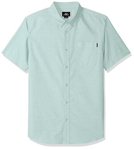 - O'Neill Men's Casual Modern Fit Short Sleeve Woven Button Down Shirt, Greyed Jade/Banks, L