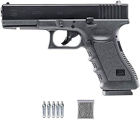Glock 17-1 Umarex (blowback) | Pack Pistola de balines (perdigones o Bolas de Acero BBs). Arma de Aire comprimido CO2 Calibre 4,5mm <3,5J
