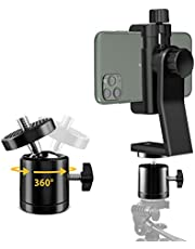 6amLifestyle Cell Phone Tripod Mount Adapter with Tripod Ball Head 360° Rotatable for Universal Smartphone Samsung Galaxy iPhone Holder for Tripod Selfie Stick Monopod Etc
