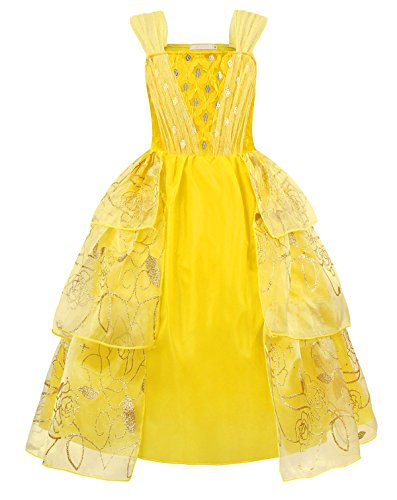 Cotrio Belle Dress for Toddler Girls Costume Outfits Deluxe Party Fancy Dresses Kids Princess Dress Up Ball Gown Size 6 (120, 5-6Years, Yellow)