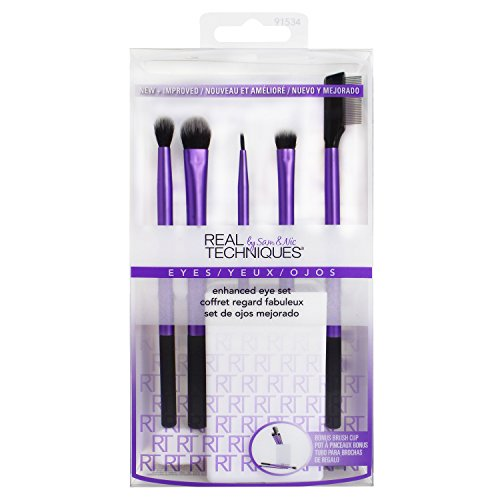 Real Techniques Cruelty Free Enhanced Eye Set, Includes: Medium Shadow, Essential Crease, Fine Liner & Shading Brushes, Lash Separator, and Brush Cup by Real Techniques