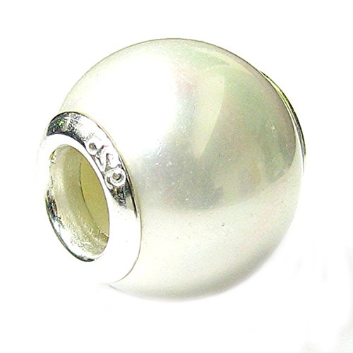 Pearl Charm Simulated (Queenberry Sterling Silver White Simulated Pearl European Style Bead Charm)